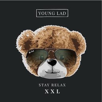 Hasło typograficzne z głową lalki niedźwiedzia w okularach przeciwsłonecznych ilustracja