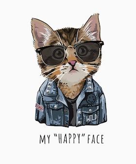 Hasło typografii z uroczym kotem w okularach przeciwsłonecznych i dżinsowej kurtce