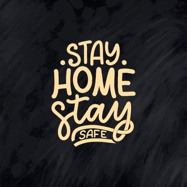 """Hasło """"zostań w domu"""" - plakat z napisami typografii"""