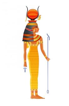 Hathor egipska bogini, niebiańskie bóstwo ze słońcem, krowie rogi. ilustracja starożytnego egipskiego boga.