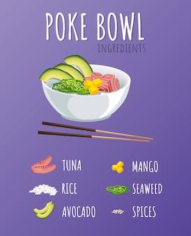 Hawaiian poke tuna bowl z zielenią i warzywami.