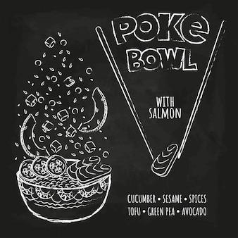 Hawaiian poke tuna bowl z zieleniną i warzywami.