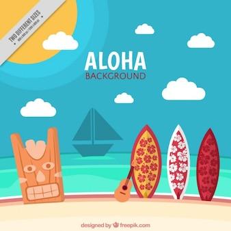 Hawaiian Tle Krajobrazu W Lecie Darmowych Wektorów