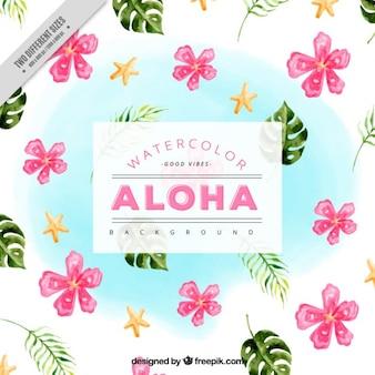 Hawaiian tle pięknych kwiatów i liści palmowych