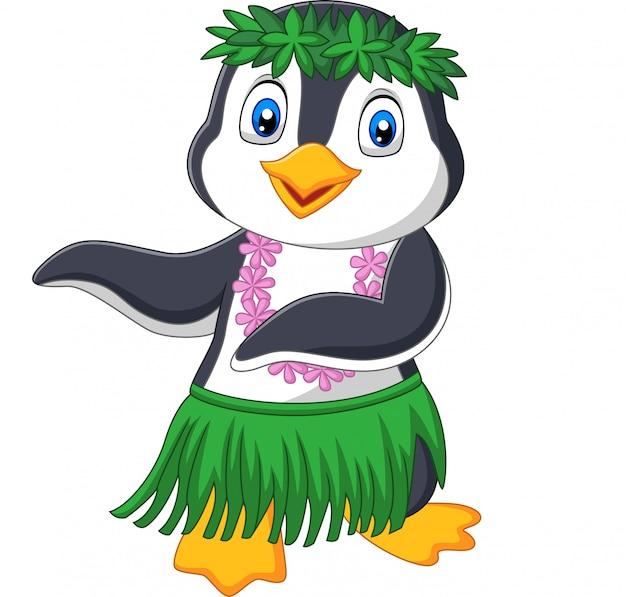 Hawaje hula pingwin na białym tle