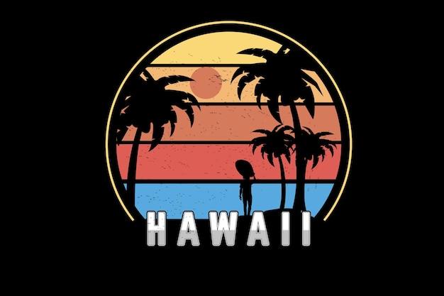 Hawaje kolor żółty pomarańczowy i niebieski
