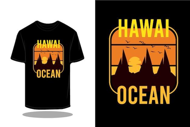 Hawaje ocean sylwetka retro projekt koszulki