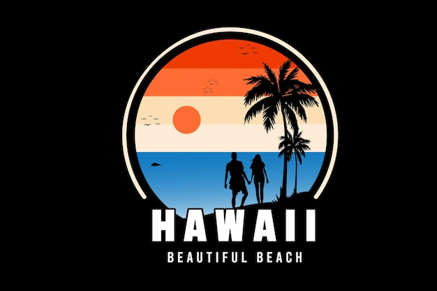 Hawaje piękny kolor plaży pomarańczowy biały i niebieski