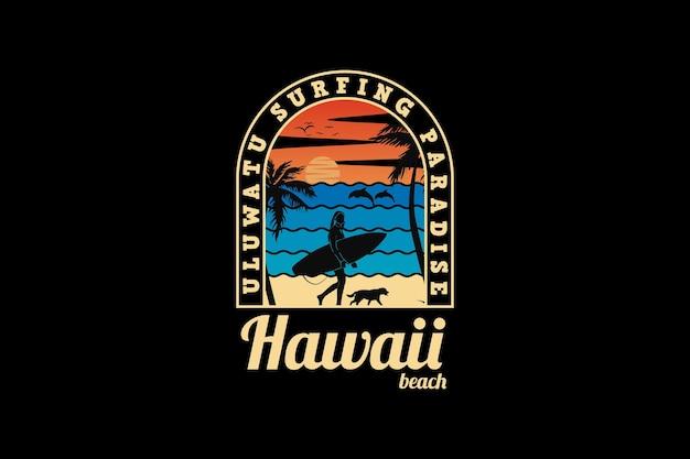 Hawaje plaża, projekt sylwetka w stylu retro.