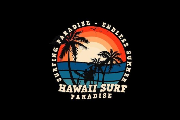 Hawaje surfowanie, projekt w stylu retro w mułach