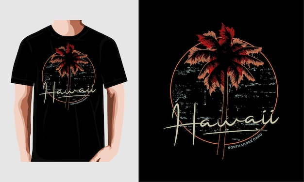 Hawaje typografia plaży do projektowania koszulki premium wektorów