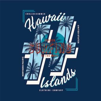 Hawaje wyspa natura plaża wektor typografia projekt ilustracji