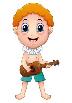 Hawajska chłopiec bawić się gitarę