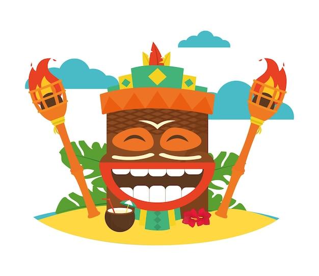 Hawajska maska tiki i latarka dookoła