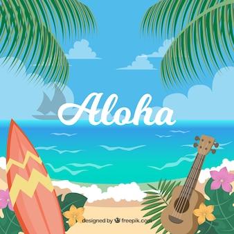 Hawajska plaża tle krajobrazu
