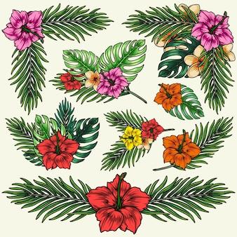 Hawajska tropikalna kolorowa kompozycja kwiatowa z egzotycznymi kwiatami palm i liśćmi monstery w stylu vintage