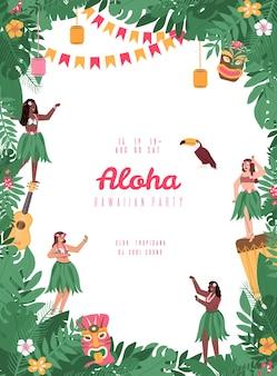 Hawajski plakat imprezowy z płaską kreskówką tancerzy hula