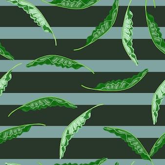 Hawajski wzór z doodle zielony losowy nadruk liści palmowych. szare i niebieskie paski tle. płaski nadruk wektorowy na tekstylia, tkaniny, opakowania na prezenty, tapety. niekończąca się ilustracja.