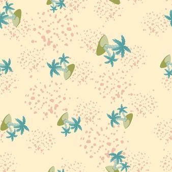 Hawajski wzór z niebieskim losowym nadrukiem wyspy i palmy. jasnoróżowe tło z plamami. przeznaczony do projektowania tkanin, nadruków na tekstyliach, zawijania, okładek. ilustracja wektorowa.