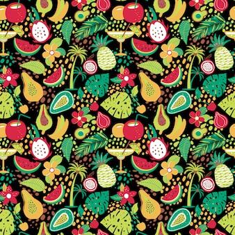 Hawajski wzór z tropikalnymi owocami i kwiatami.