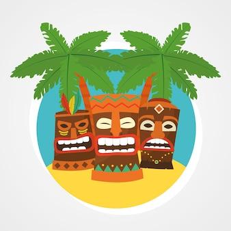Hawajskie maski tiki i tropikalne palmy