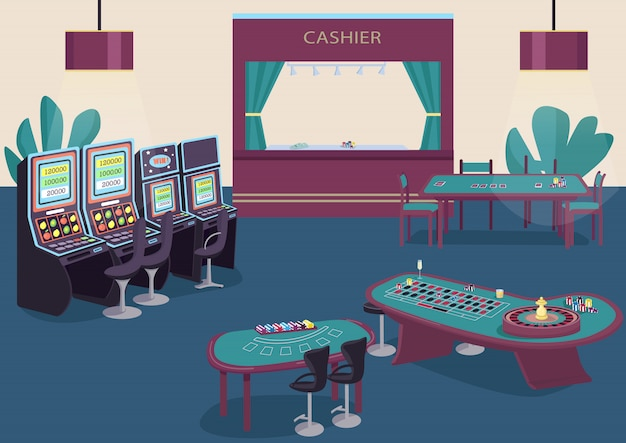 Hazard ilustracja kolor płaski. automat do automatów do owoców i owoców. zielony stół do gry w pokera. biurko do gry w blackjacka. pokój kasynowy 2d kreskówki wnętrze z kasjerem kontuarem na tle