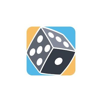 Hazard kostka ikona proste płaskie logo wektor
