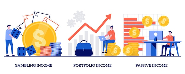 Hazard, portfolio, koncepcja pasywnego dochodu z małymi ludźmi. zestaw zysków kapitałowych. kasyno internetowe, inwestycje i obligacje, przepływy pieniężne, automat na pieniądze, fundusz inwestycyjny, finanse.