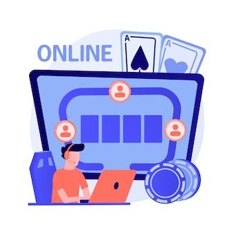 Hazardzista grający w pokera online, facet wygrał w kasynie internetowym. ryzykowna gra karciana, hazard cyfrowy, wirtualny turniej. odnoszący sukcesy gracz z dużym szczęściem. ilustracja wektorowa na białym tle koncepcja metafora
