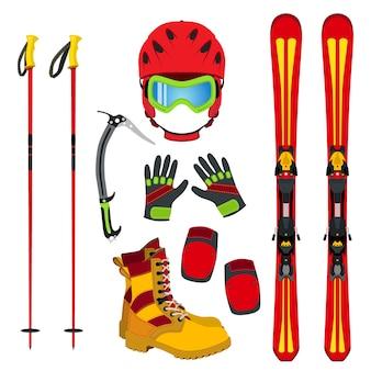 Hełm, rękawice, narty, buty, ochraniacze, pick do lodu