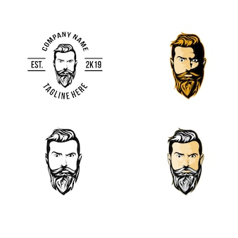 Head front beard logo