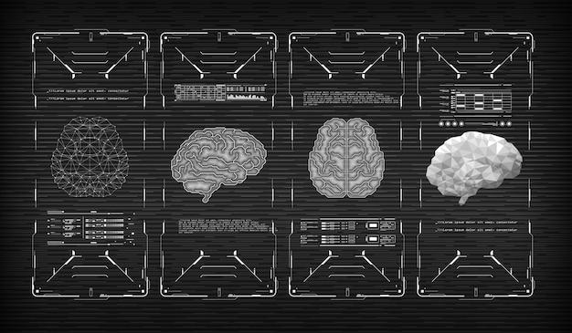 Head-up wyświetla futurystyczny interfejs użytkownika z mózgiem. wirtualna grafika.