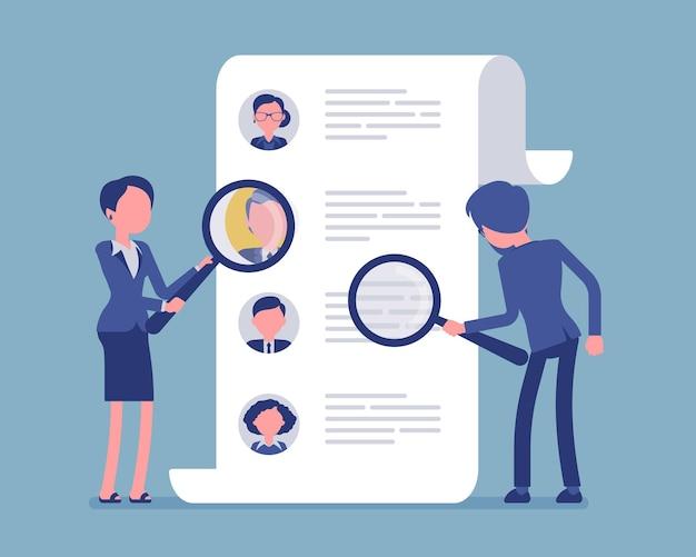 Headhunterzy poszukujący pracownika. pracownicy usługi rekrutacyjnej z lupą szukają najlepszego kandydata cv, agencji rekrutacyjnej. ilustracja wektorowa, postacie bez twarzy