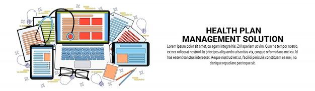 Health plan management solutions web banner szablon koncepcja opieki zdrowotnej i medycyny