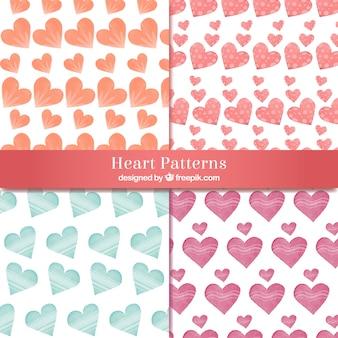 Hearts akwarelowe wzory