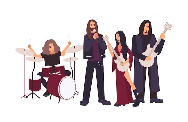 Heavy metal lub gotycki zespół rockowy występujący na scenie. mężczyźni i kobiety z długimi włosami, śpiewając i grając muzykę podczas koncertu lub próby na białym tle. ilustracja kreskówka płaski