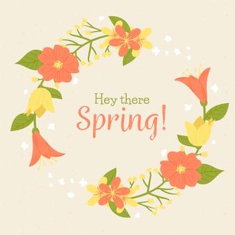Hej, wiosenny napis w kolorowej ramie z motywem kwiatowym