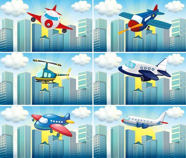 Helikopter i samoloty latające na ilustracji miasta