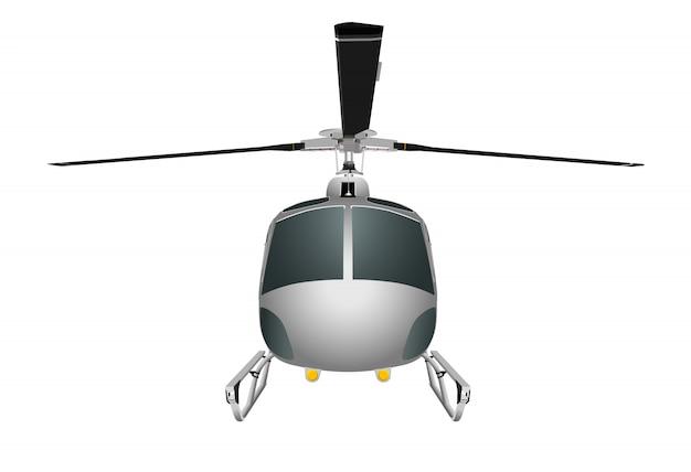 Helikopter z podwoziem i ostrzami.