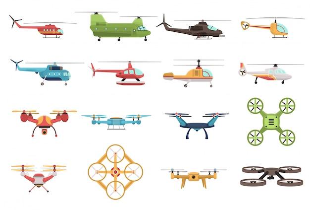 Helikoptery i zestaw dronów