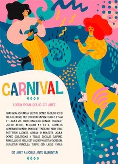 Hello carnival. plakat wektor zabawny taniec kobiet i mężczyzn w jasne nowoczesne kostiumy.