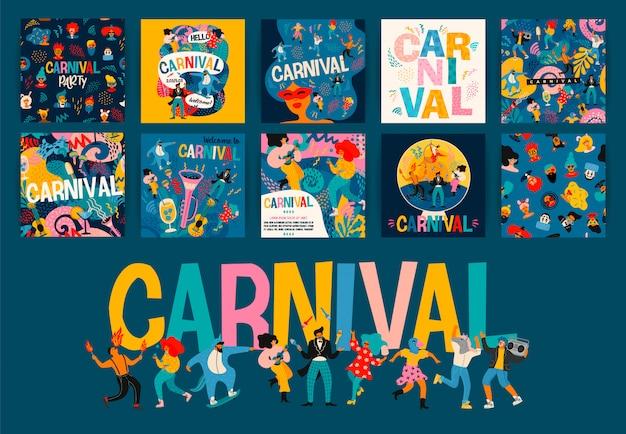 Hello carnival. zestaw ilustracji na karnawał.