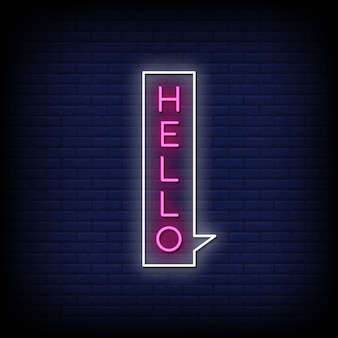 Hello neon style text with bubble speech