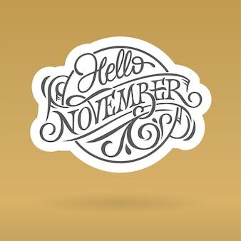 Hello november logo w formie koła