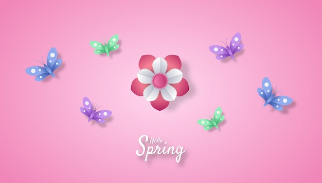 Hello spring z kwiatowym i motylkowym stylem cięcia papieru