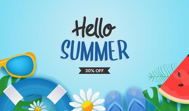 Hello summer napis z kolorowymi elementami plażowymi, tropikalnymi liśćmi i owocami
