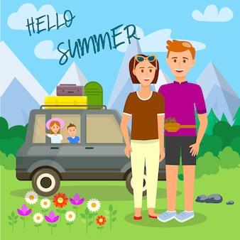 Hello summer square rodzice i dzieci podróżują
