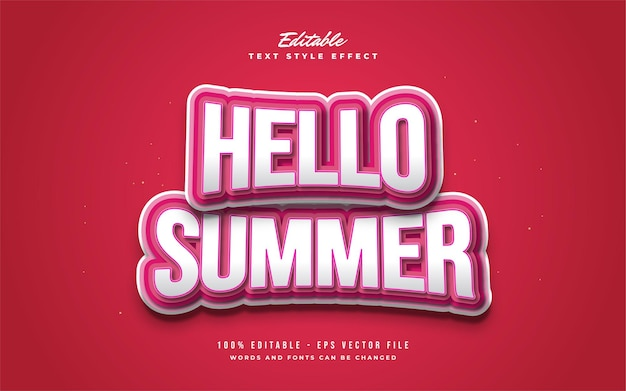 Hello summer text in white and red with cartoon style and bulge effect