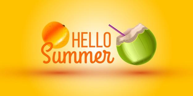Hello summer, zielony kokos, słomka, pomarańcz. egzotyczny owoc