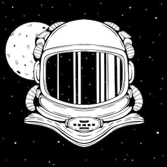 Hełm astronauty w przestrzeni z ręcznie rysowanym lub szkicowanym stylem